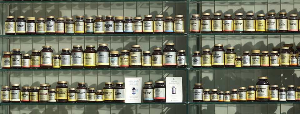 Shelves of Vitamin bottles